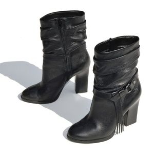 Guess Black Leather Fringed Ankle Boot Size 7